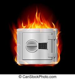 Burning steel safe