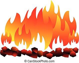 burning, steenkool, isolated., hete steenkool, op wit,...