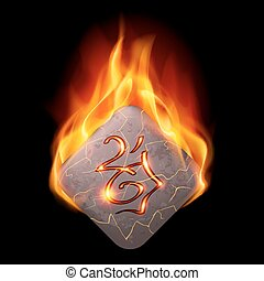 Burning stone with magic rune
