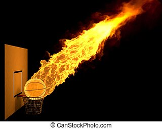 burning strike - 3d basketball ball with flames