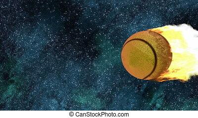 burning tennis ball