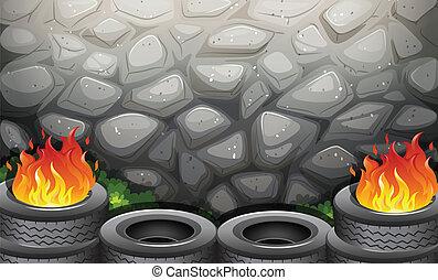 Burning tires near the stonewall