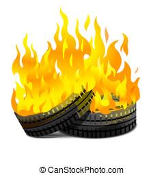 Burning tires - Two lying burning tires revolutionary...