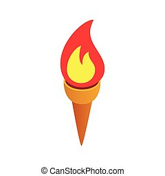 Burning torch isometric 3d icon