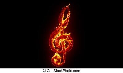 Burning treble clef