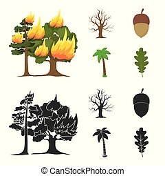Burning tree, palm, acorn, dry tree.Forest set collection icons in cartoon,black style vector symbol stock illustration web.