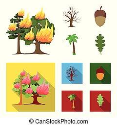 Burning tree, palm, acorn, dry tree.Forest set collection icons in cartoon,flat style vector symbol stock illustration web.