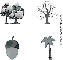 Burning tree, palm, acorn, dry tree.Forest set collection icons in monochrome style vector symbol stock illustration web.