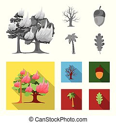 Burning tree, palm, acorn, dry tree.Forest set collection icons in monochrome,flat style vector symbol stock illustration web.