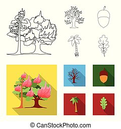 Burning tree, palm, acorn, dry tree.Forest set collection icons in outline,flat style vector symbol stock illustration web.