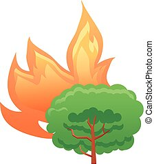 Burning tree vector icon