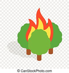 Burning trees isometric icon