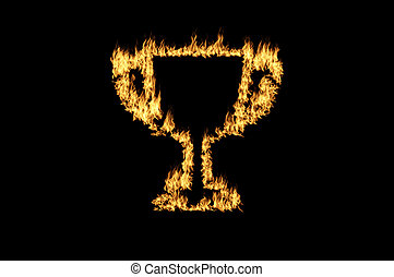 burning trophy cup with flame on da