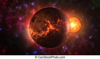 Burning Venus - Venus with an avalanche on the surface in...