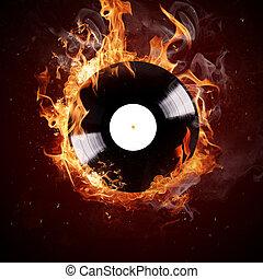 Burning vinyl disc-Hot hits