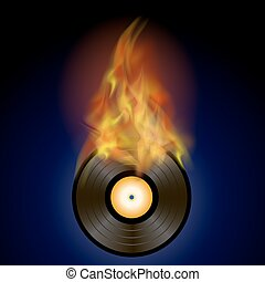 Burning Vinyl Disc with Fire Flame