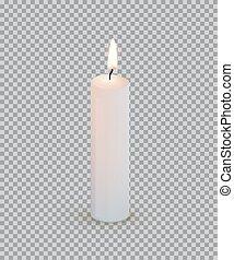 burning, vrijstaand, achtergrond., vector, ontwerp, kaarsje, witte , transparant, element.