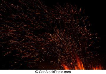 burning, vuur, vrijstaand, vlam, achtergrond, black , of