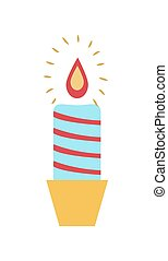 Burning Wax Candle Candlestick Vector Illustration