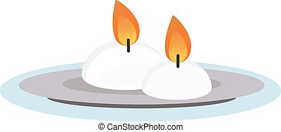 Burning wax candle in a stand flat - Burning wax candle in a...