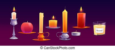 Burning wax candles different shapes with fire