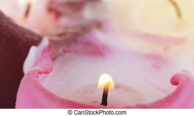 Burning wax candles