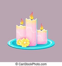 Burning wax or paraffin aromatic candles for aromatherapy. ...