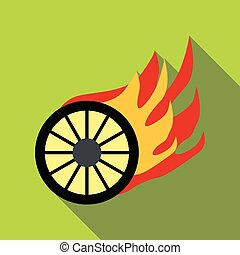 Burning wheel icon, flat style