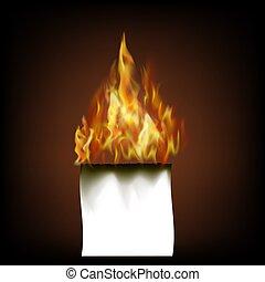 Burning White Paper Isolated on Black Background