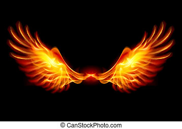 Burning Wings - Wings in Flame and Fire. Illustration on...