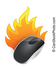 burning Wireless computer mouse