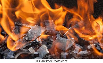 burning wood close up
