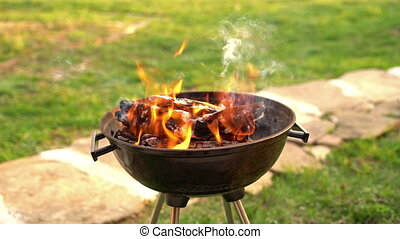 Burning wood in barbeque grill, preparing hot coals for...