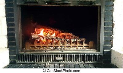Burning Wood In Stone Fireplace - Close-up of Wood Burning...