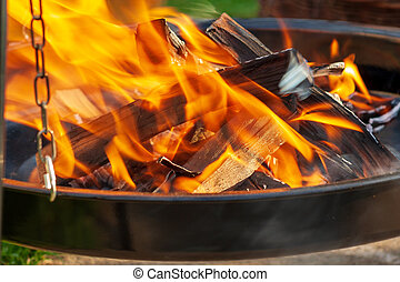 Burning wood in the stove. Fire background.