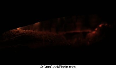 Burning wood smoldering wood smoldering log. Burning logs burned in the fire close up. Smoldering burning logs in fire with ash and coals
