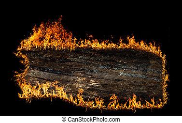Burning wooden board