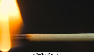 Burning wooden toothpick, stick - Burning wooden stick,...