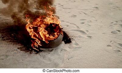 burning wreckage during hostilities
