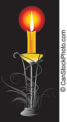 Burning yellow candle