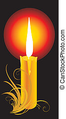 Burning yellow candle with ornament