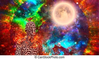 Burning zen - Surrealism. Burning figure of man with maze ...