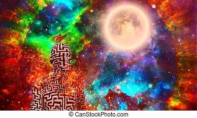 Surrealism. Burning figure of man with maze pattern in lotus pose. Vivid universe on background