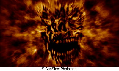 Burning zombie head animation. Orange background - Burning...