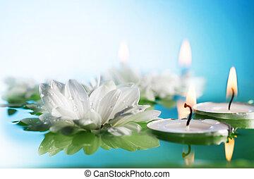burning, zwevend, kaarsjes, en, bloemen