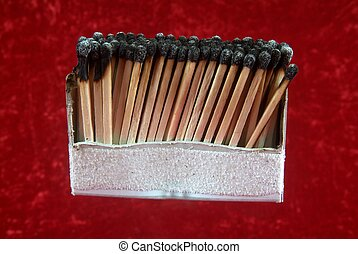 Burnout at work and over exhausted concept. Line of matches and all burnt.