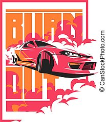 Burnout car, Japanese drift sport, JDM,