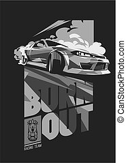 burnout, dérive, japonaise, sport, voiture rue, courses