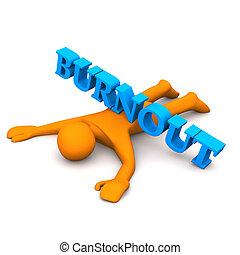 "Burnout - Orange cartoon character with blue text ""burnout""."