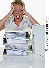burnout, femme, bureau